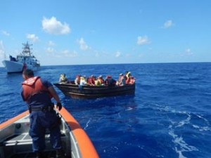 Cuban rafters intercepted by the US Coast Guard this past August. Photo: USCS