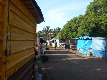 Local food stands at Playa Larga.