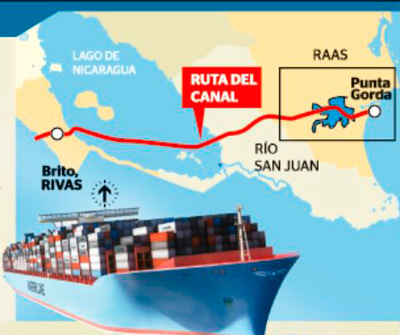 Route of the canal project to be build with funding from undisclosed investors.