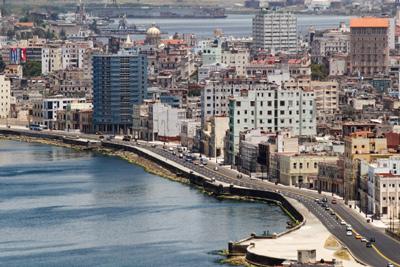 The Havana malecon seawall.