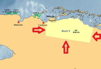 Along the northern coast of Cuba is Block 9, assigned to the Australian oil company MEO.