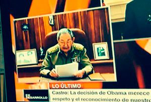 Cuban president Raul Castro makes his surprise announcemnt on the results of 18 months of secret negotiations with the Obama administration.