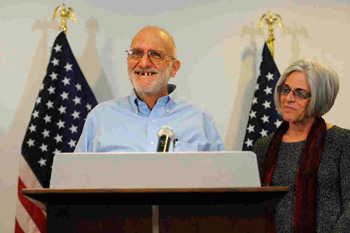 Alan Gross and his wife Judy on the day he was released from prison in Cuba.