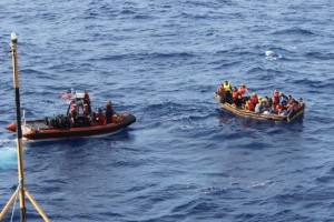 Cuban rafters captured in the Strait of Florida in September last year. Photo: Coast Guard Service