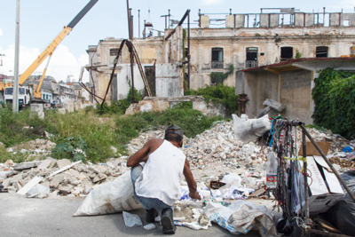 Rubble from collapsed buildings is an everyday scene in Centro Habana.