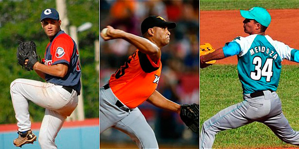 Despite the absence of left-handed pitching, Pinar del Río added top right-handed hurlers to their team: Norge L. Ruíz (l), Freddy Asiel Alvarez (c) and Hector M. Mendoza (r)