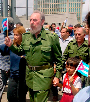 I shot this photo of Fidel Castro marching for Elián González' return in the year 2000.