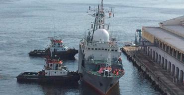 The Viktor Leonov Russian intelligence gathering ship.