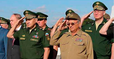 From left, Anatoliy Antonov, Sergei Shoigu and Leopoldo Cintra Frias in Havana.