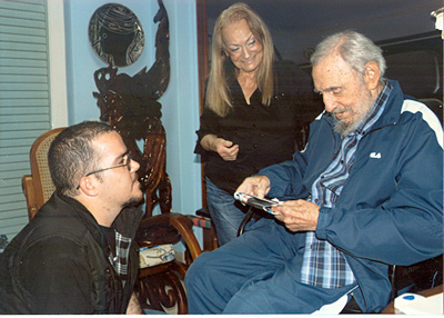 Fidel Castro with Randy Perdomo, leader of the Federation of University Students