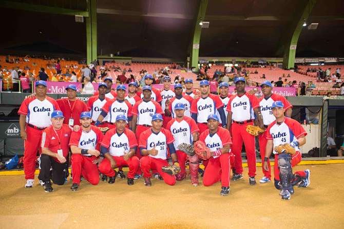 Cuba's team picture on Wednesday night.