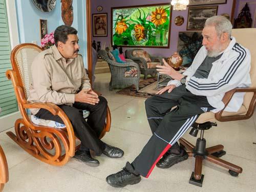 Nicolas Maduro in Havana with Fidel Castro.  File photo: Estudios Revolución