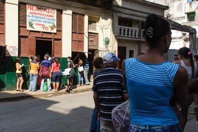 Line to buy potatoes. Photo: Juan Suarez