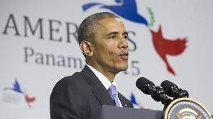 Barack Obama at the press conference following the Summit of the Americas in Panama.
