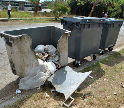 The old and new garbage collection bins side-by-side.