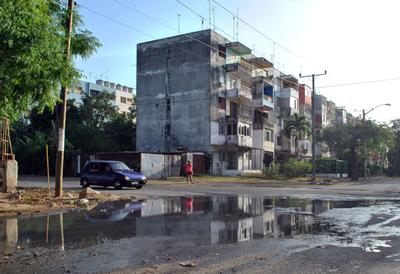Sewage between the apartment buildings of Alamar.