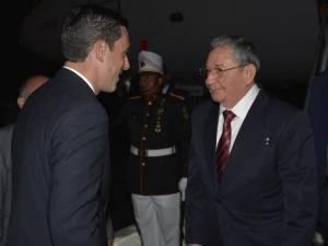 Cuban President Raul Castro arrives in Panama for the Summit of the Amercias.  Foto:  Estudios Revolución.