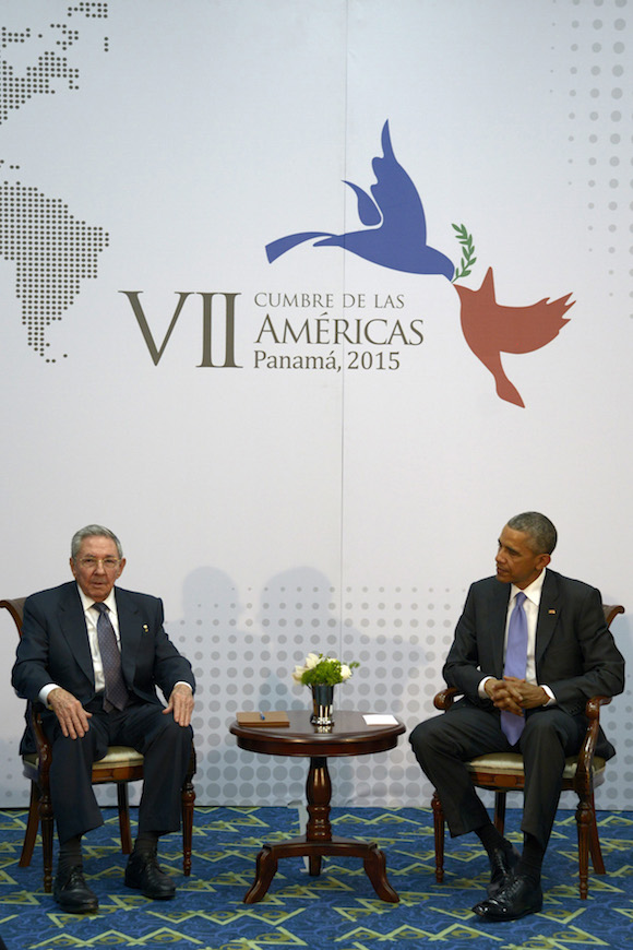 Presidents Raul Castro and Barack Obama meeting at the  Summit of the Americas.