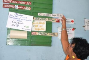 Cigarettes and cigars on the product roster at a ration outlet in Sancti Spiritus. Photo: Escambray Newspaper