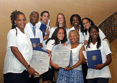 US Medical Students with diplomas in Havana.