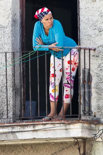 Havana woman wearing the US flag.  Photo: Juan Suarez