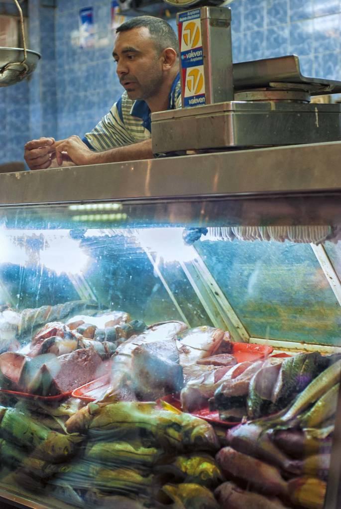 Fish counter at the Catia Market.
