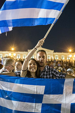 Celebration for the No vote victory in Athens.  Photo: wikipedia.org
