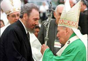 Fidel Castro and JuanPablo II back in 1998 in Havana.  Photo: lajiribilla.co.cu
