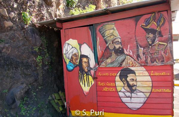 Roadside kiosk: Maurice Bishop in a pan-Africanist mural.  Photo: Shalini Puri