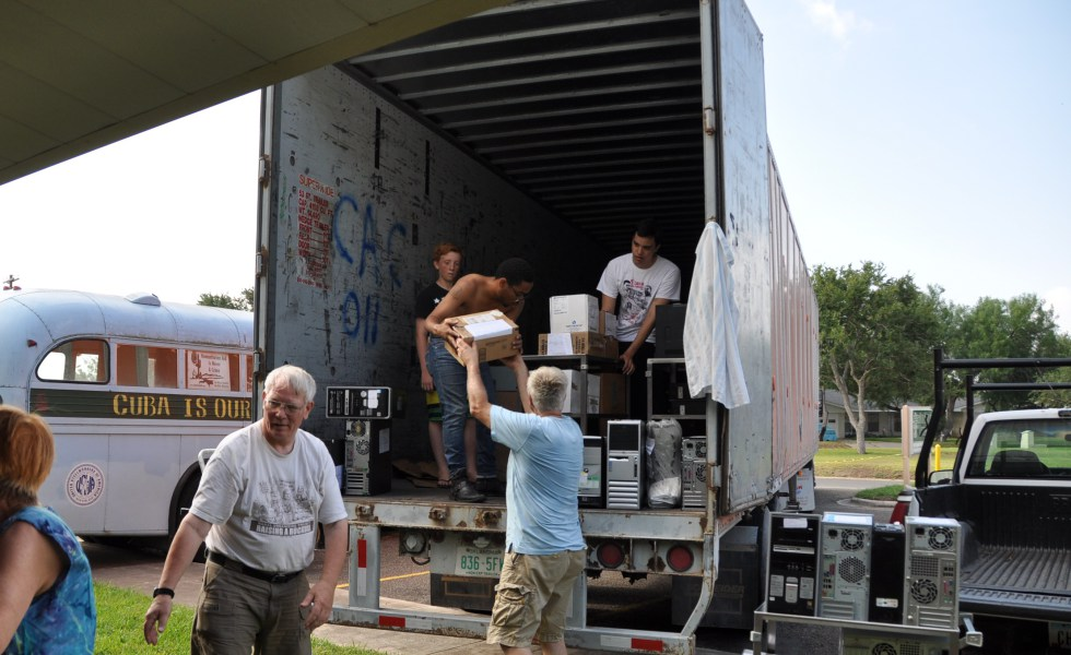 Loading up donations for the 2015 Pastors for Peace Caravan to Cuba.