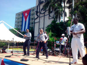 Police singing and dancing at the UJC Congress related event in the Plaza of the Revolution.
