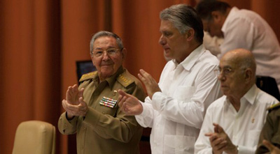 Raul Castro and Miguel Diaz Canel