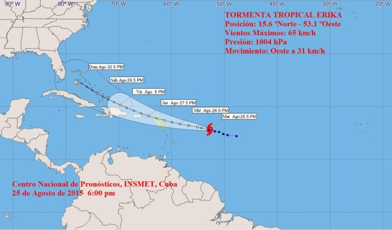 The Cuban weather service's projection cone for tropical storm Erika.