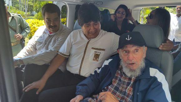 Nicolas Maduro and Evo Morales traveled to Havana to celebrate Fidel's 89th birthday with him.