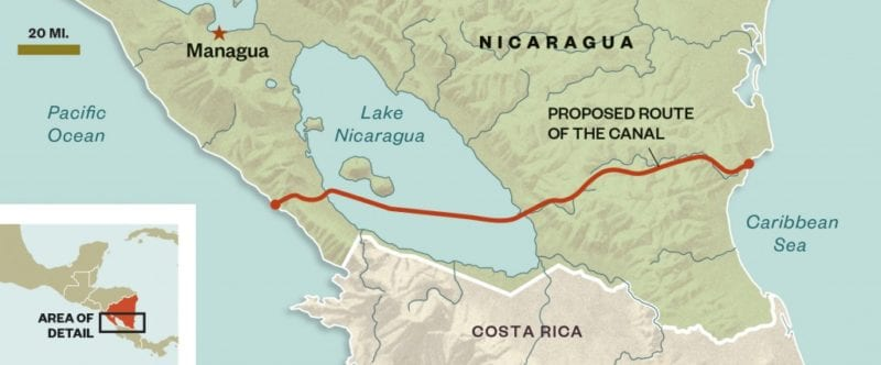 The proposed Nicaragua Canal. Graphic: Guilbert Gates for Portside.org