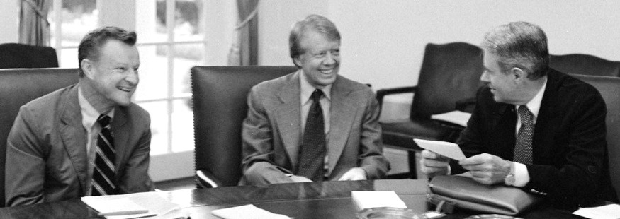 Jimmy Carter flanked by his National Security Adviser, Zbigniew Brzezinski, left, and Secretary of State Cyrus Vance.