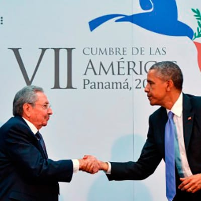 Raul Castro and Barack Obama when they met at the Americas Summit in Panama last April.