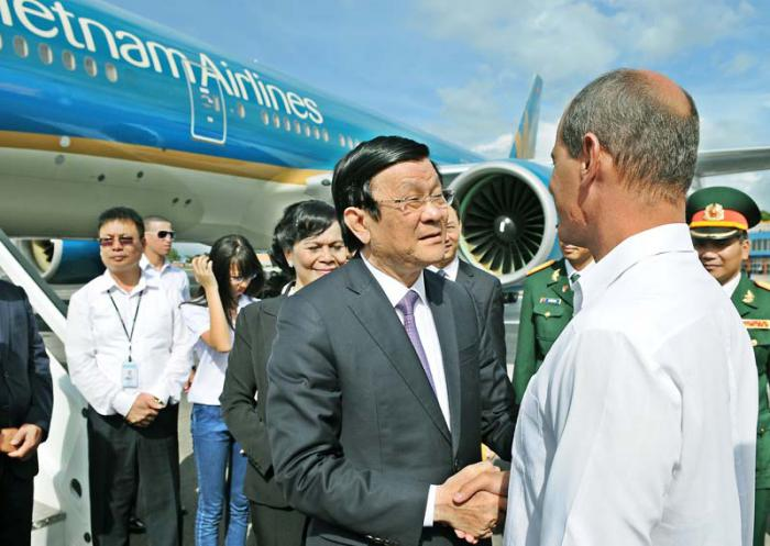 The president of Vietnam at the conclusion of his visit to Cuba.