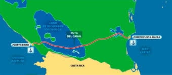 Map of the proposed canal route from lavozdel sandinismo.com