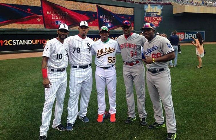 Five Cubans played in the 2014 MLB All-Star game. From left: Alexei Ramírez, Jose Dariel Abreu, Yoennis Cespedes, Aroldis Chapman and Yasiel Puig.