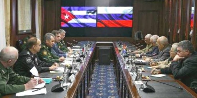 meeting at the Russian Foreign Ministry. Gen. Sergei Shoigu is third from left; Ricardo Cabrisas is third from right.
