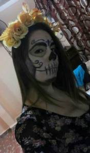 Dayani Ramos García stayed home but kept on her Catrina costume.