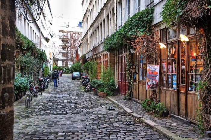 A neighborhood street in Paris.