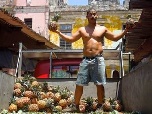 Street vendor selling pineapples. Photo: Alfonso Aguilar