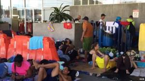 Some of the around 4,000 Cubans stranded in Costa Rica.