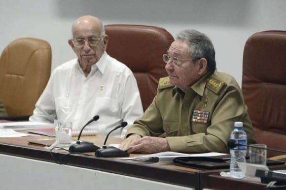General/president/Communist Party First Secretary Raul Castro (r), 84, and the Party's second in command Juan Ramon Machado, 84.