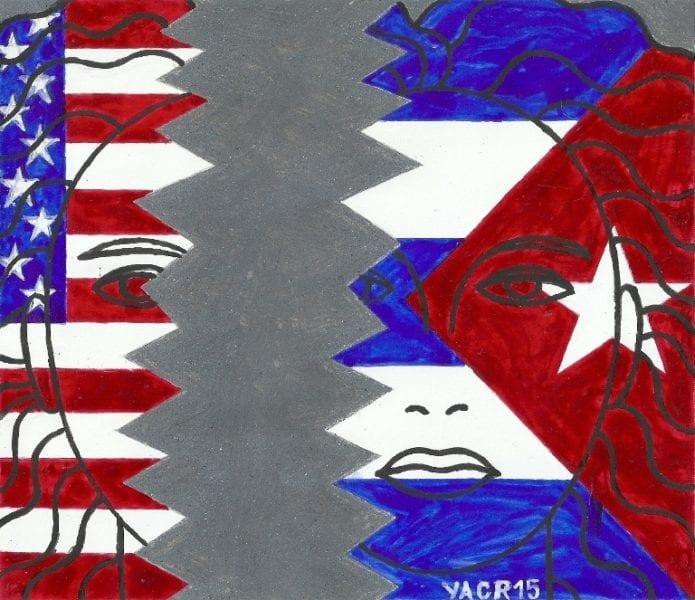 Some 2 million Cubans live in the United States. Illustration: Yasser Castellanos