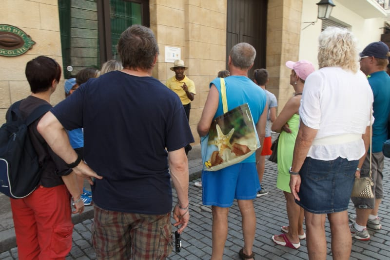 Tourists waiting to go into the Chocolate Museum in Old Havana. Photo: Juan Suarez
