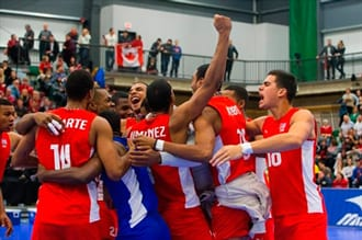 Team Cuba celebrates after winning against Team Canada during the 2016 Continental Olympic Qualification Tournament in Edmonton, Alta., on Sunday January 10, 2016. THE CANADIAN PRESS/Amber Bracken