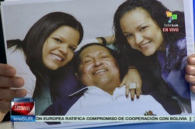 Hugo Chavez with his daughters during the last days of his fight for life. Photo: telesurtv.net